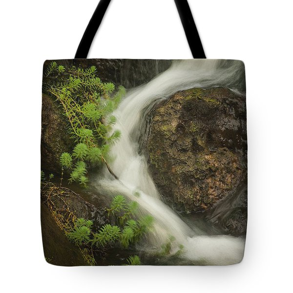 Tote Bag featuring the photograph Flowing Stream by David Coblitz