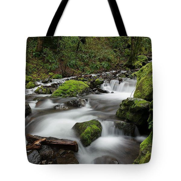 Flowing Through The Moss And Rocks Tote Bag