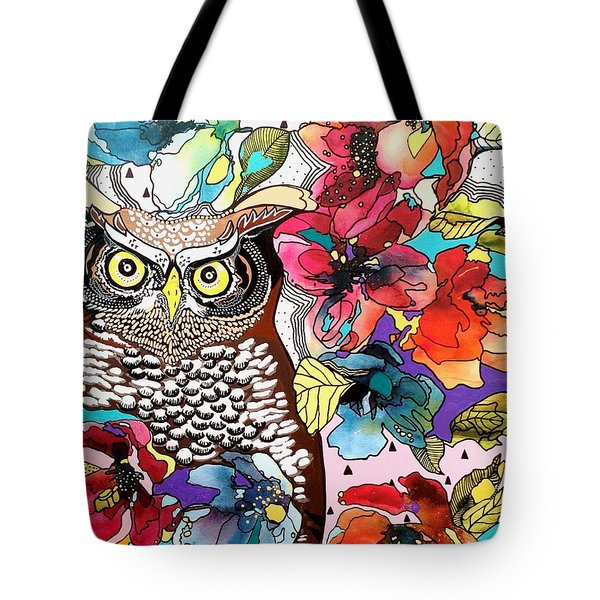 Tote Bag featuring the painting flOWLers by Amy Sorrell