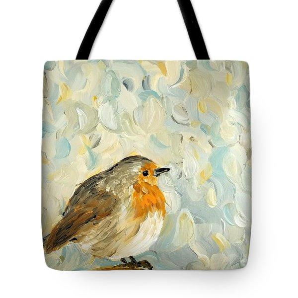 Fluffy Bird In Snow Tote Bag