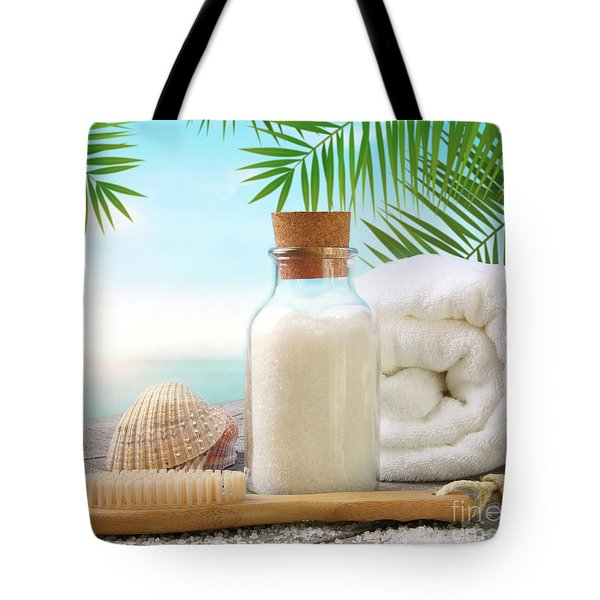 Fluffy Towels With Sea Salt And Seashells On Beach Table Tote Bag