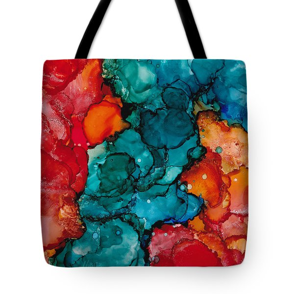 Tote Bag featuring the painting Fluid Depths Alcohol Ink Abstract by Nikki Marie Smith