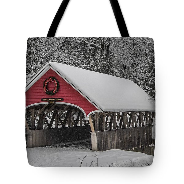 Flume Covered Bridge In Winter Tote Bag