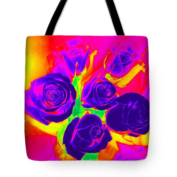 Fluorescent Roses Tote Bag