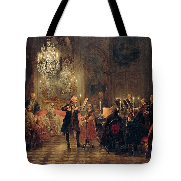 Tote Bag featuring the painting Flute Concert With Frederick The Great In Sanssouci by Adolph Menzel