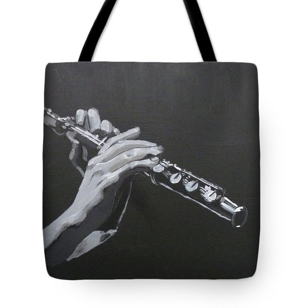 Tote Bag featuring the painting Flute Hands by Richard Le Page