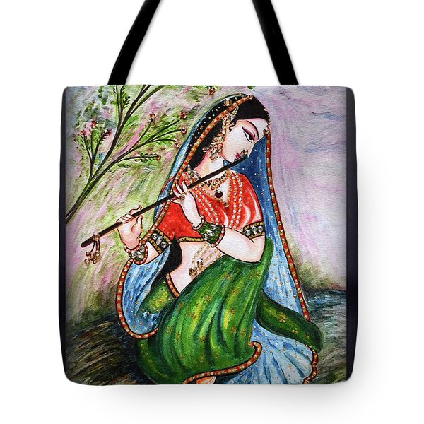 Flute Playing In - Krishna Devotion  Tote Bag