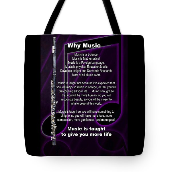 Flute Why Music Photographs Or Pictures For T-shirts 4824.02 Tote Bag by M K  Miller