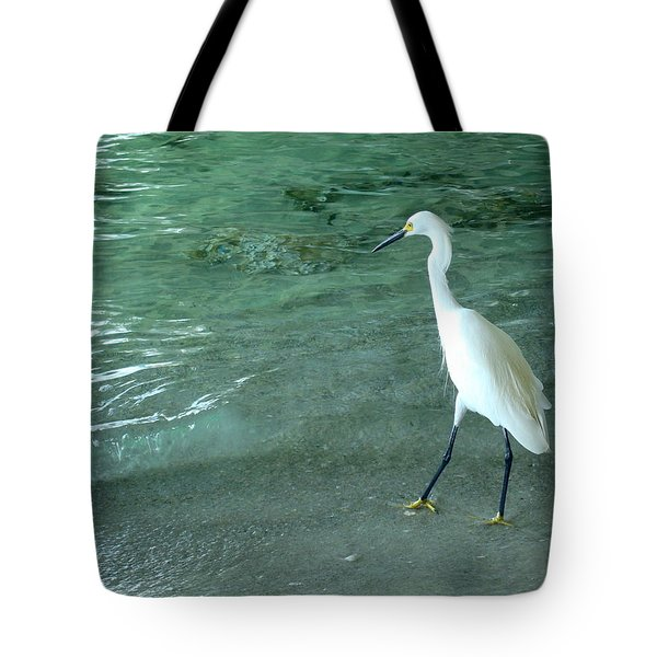 Egret Under Bridge Tote Bag