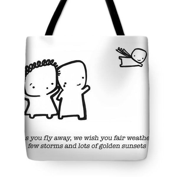 Tote Bag featuring the drawing Fly Away by Leanne Wilkes