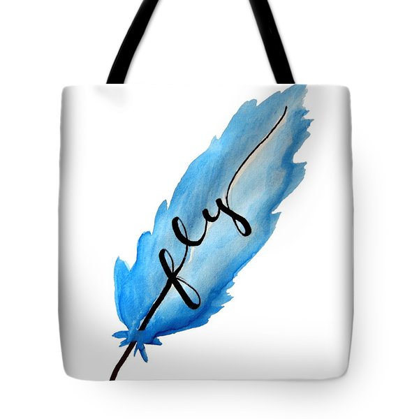 Fly Blue Feather Vertical Tote Bag