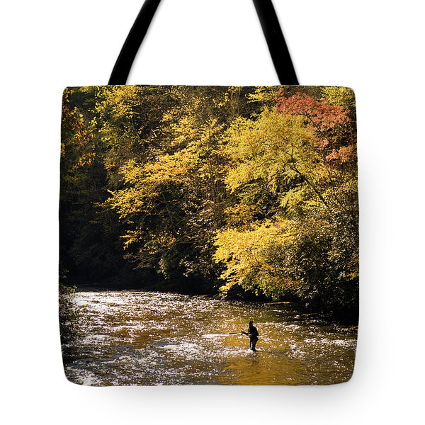 Tote Bag featuring the photograph Fly Fisherman On The Tellico - D010008 by Daniel Dempster
