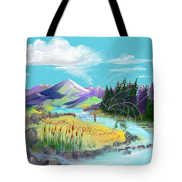 Fly Fishing With Aa Wooly Worm. Tote Bag