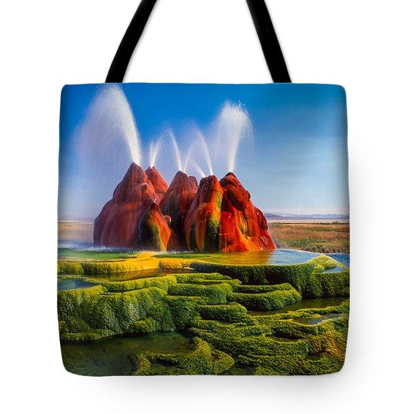 Fly Geyser Panorama Tote Bag