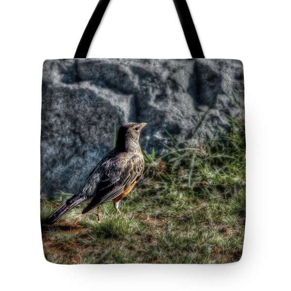 Tote Bag featuring the photograph Fly Robin Fly by Pennie  McCracken