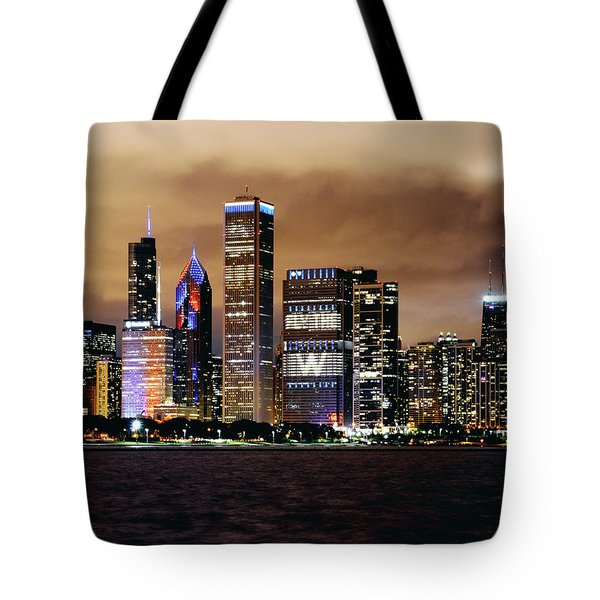Cubs World Series Chicago Skyline Tote Bag