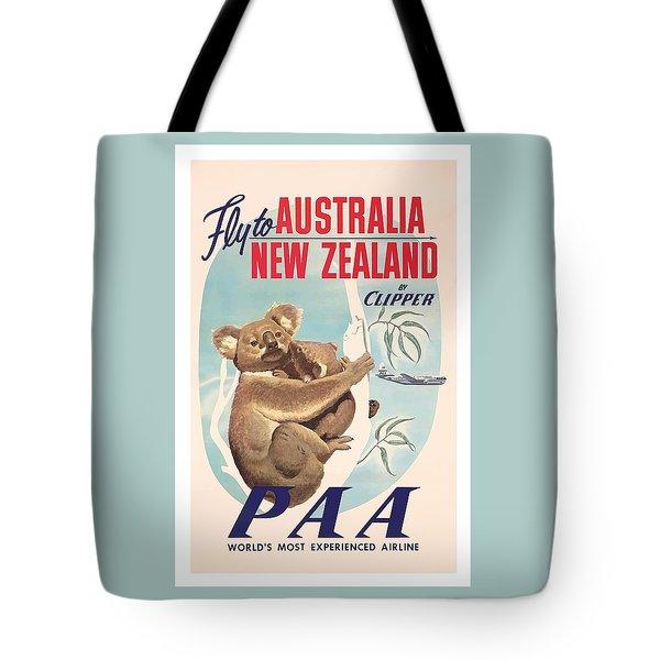 Fly To Australia, New Zealand By Clipper Koala Bears Tote Bag