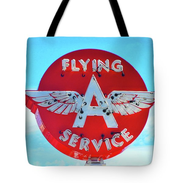 Flying A Service Sign Tote Bag
