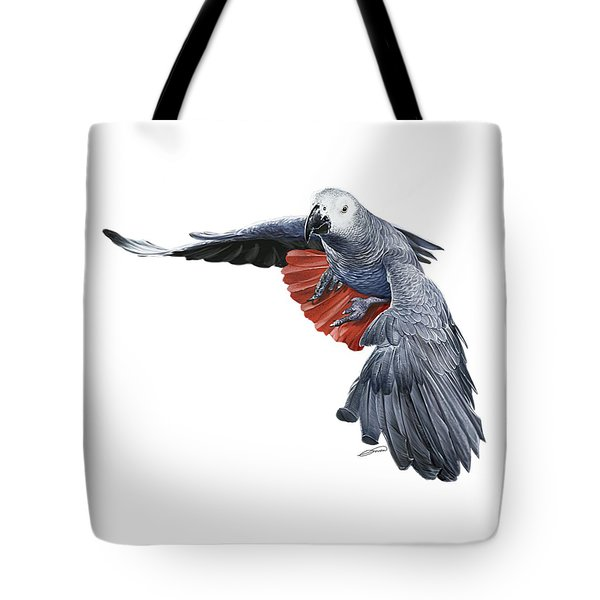 Flying African Grey Parrot Tote Bag by Owen Bell