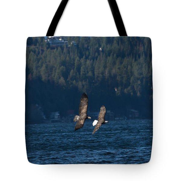 Flying Bald Eagles Tote Bag