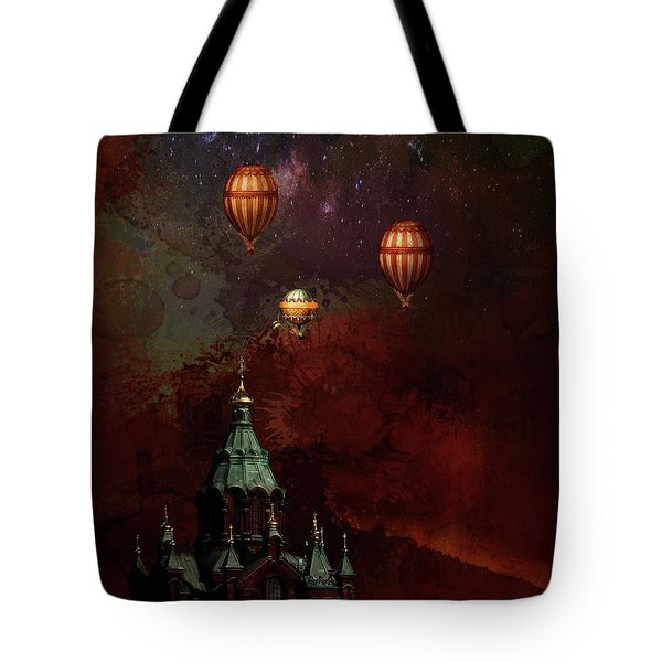 Tote Bag featuring the digital art Flying Balloons Over Stockholm by Jeff Burgess