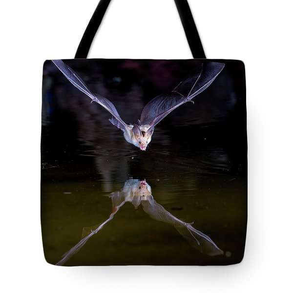 Flying Bat With Reflection Tote Bag