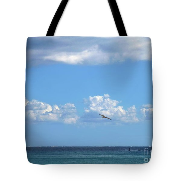 Tote Bag featuring the photograph Flying By The Sea by Francesca Mackenney