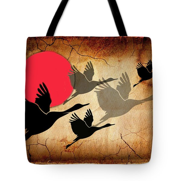 Flying Cranes Tote Bag