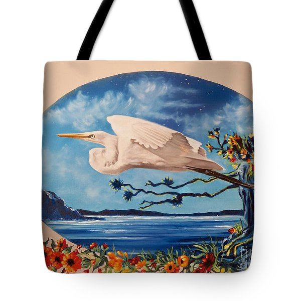 Tote Bag featuring the painting Flying Egret by Sigrid Tune