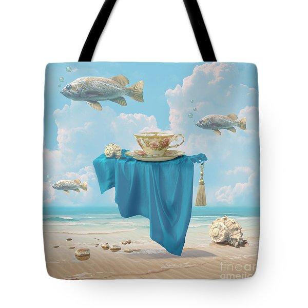 Tote Bag featuring the digital art Flying Fish by Alexa Szlavics