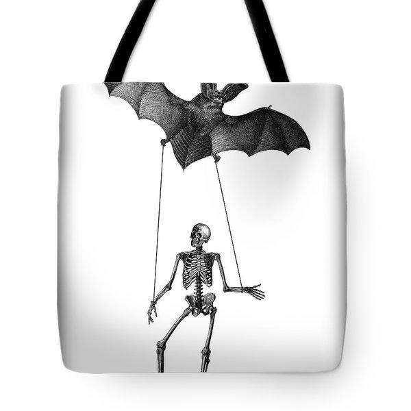 Flying Bat With Skeleton On A String Tote Bag