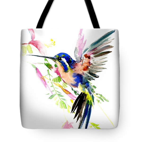 Flying Hummingbird Ltramarine Blue Peach Colors Tote Bag