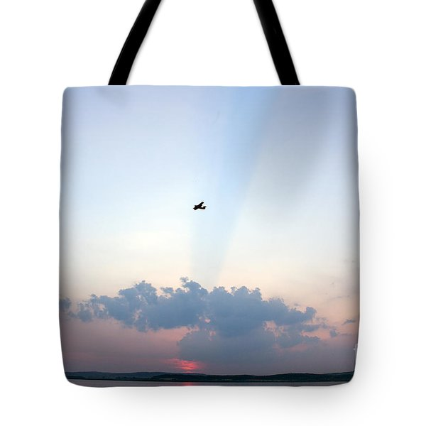 Flying In Sunset Tote Bag by Odon Czintos