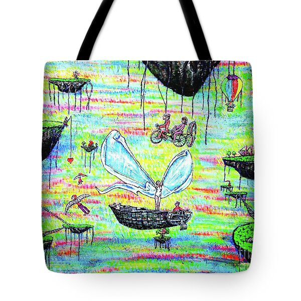 Tote Bag featuring the painting Flying Islands by Viktor Lazarev