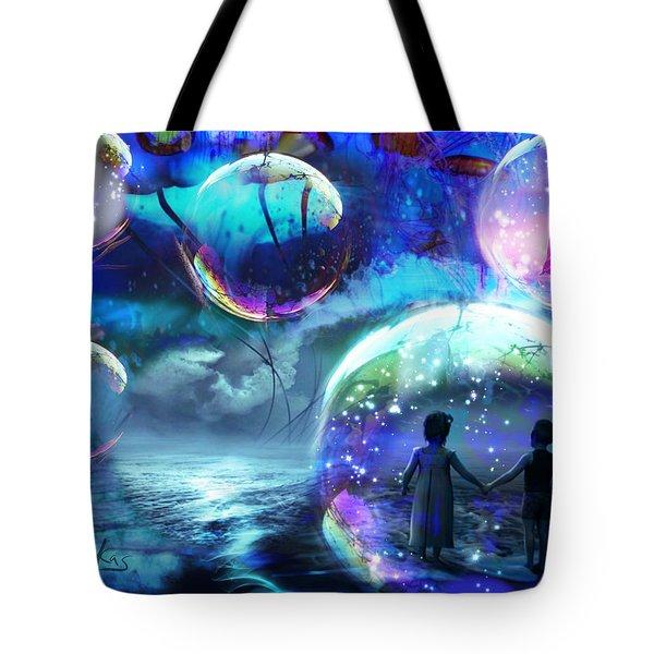 Flying Jellyfish And Magic Orbs Tote Bag