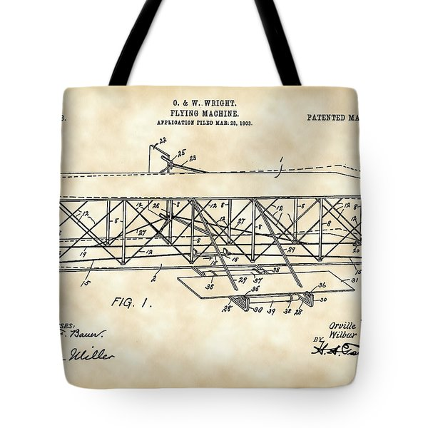 Flying Machine Patent 1903 - Vintage Tote Bag