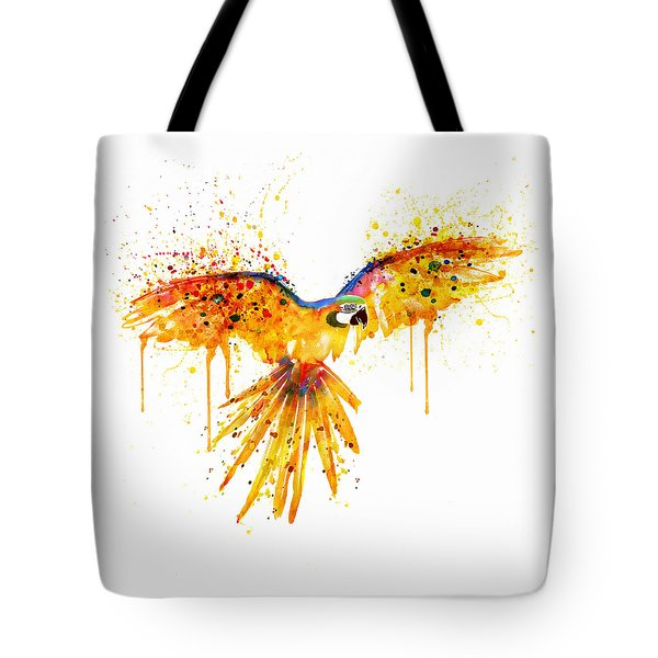 Flying Parrot Watercolor Tote Bag by Marian Voicu