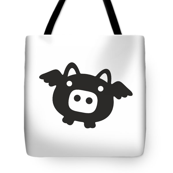 Flying Pig - Black Tote Bag