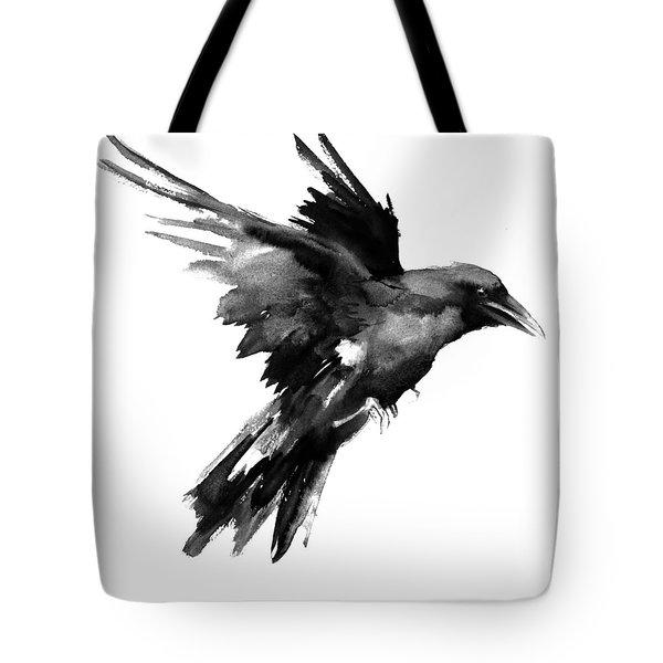 Flying Raven Tote Bag by Suren Nersisyan
