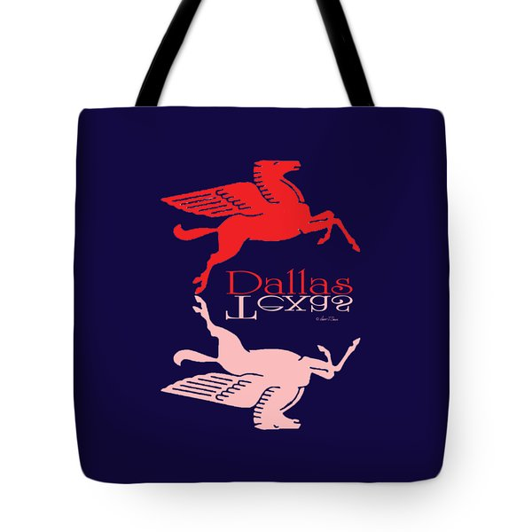 Flying Red Horse Dallas Texas Reflection T-shirt Tote Bag