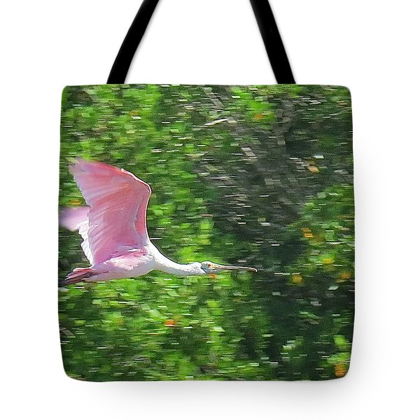 Flying Spoonbill Tote Bag