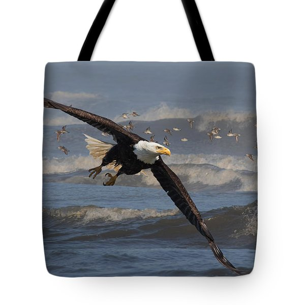 Flying Through The Surf Tote Bag by Angie Vogel