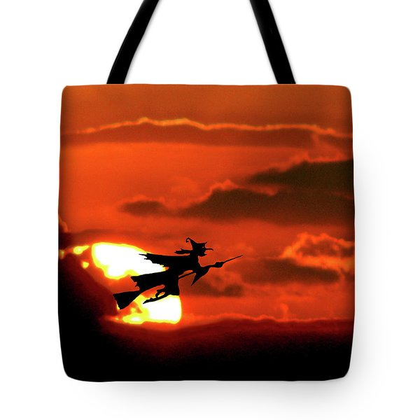 Flying Witch Halloween Card Tote Bag by Adele Moscaritolo