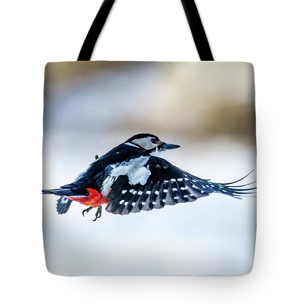 Tote Bag featuring the photograph Flying Woodpecker by Torbjorn Swenelius