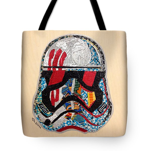 Tote Bag featuring the tapestry - textile Storm Trooper Fn-2187 Helmet Star Wars Awakens Afrofuturist Collection by Apanaki Temitayo M