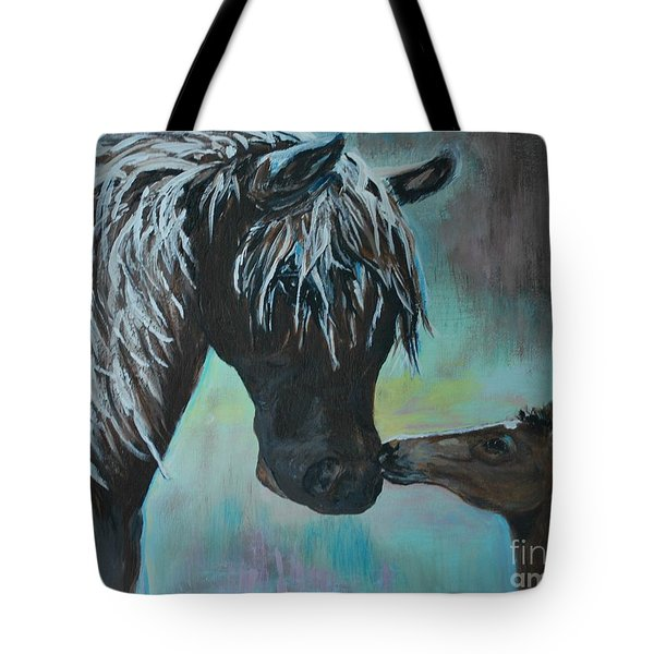 Tote Bag featuring the painting Foal Kiss by Leslie Allen