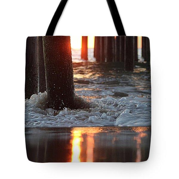 Foamy Waters Under The Pier Tote Bag