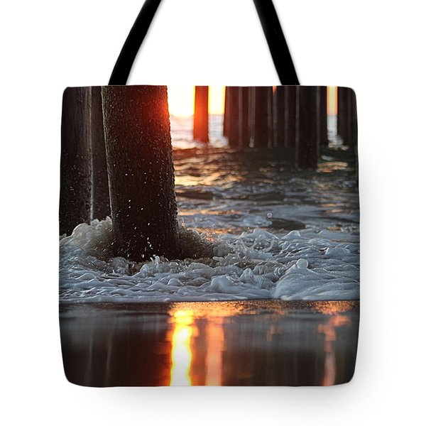 Foamy Waters Under The Pier Tote Bag