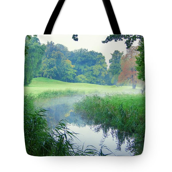 Fog Along A Creek In Autumn Tote Bag
