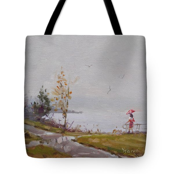 Fog And Rain At Gratwick Waterfront Park Tote Bag